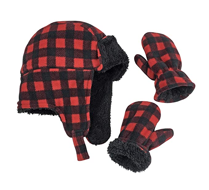 N  ice Caps Little niños y bebé Buffalo Plaid Polar Trooper gorro manoplas  Set - f274d12dde0