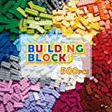 REMOKING 500 Pieces Building Bricks Kit for Kids, Color Classic Creative Mix Blocks Set, Compatible with All Major Brands