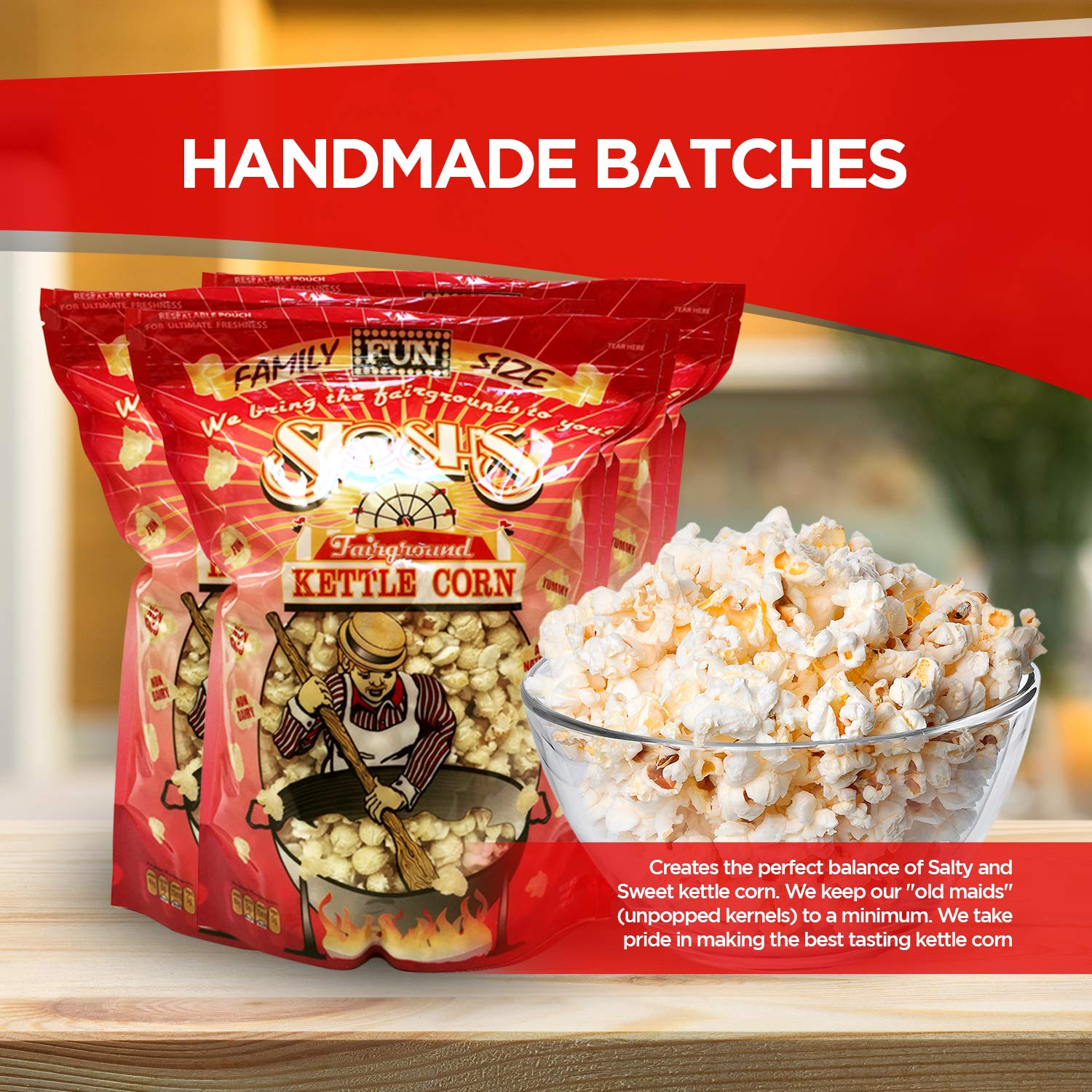 All Natural Kettle Corn - Gourmet Handmade Sweet & Salty Kettle Corn  Popcorn with Resealable Bag (14oz