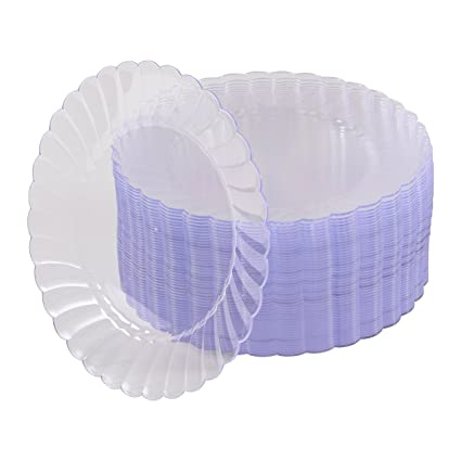 50 Premium Hard Clear Plastic Plates Set By Oasis Creations - 9u0026quot; Clear Round Disposable  sc 1 st  Amazon.com & Amazon.com | 50 Premium Hard Clear Plastic Plates Set By Oasis ...