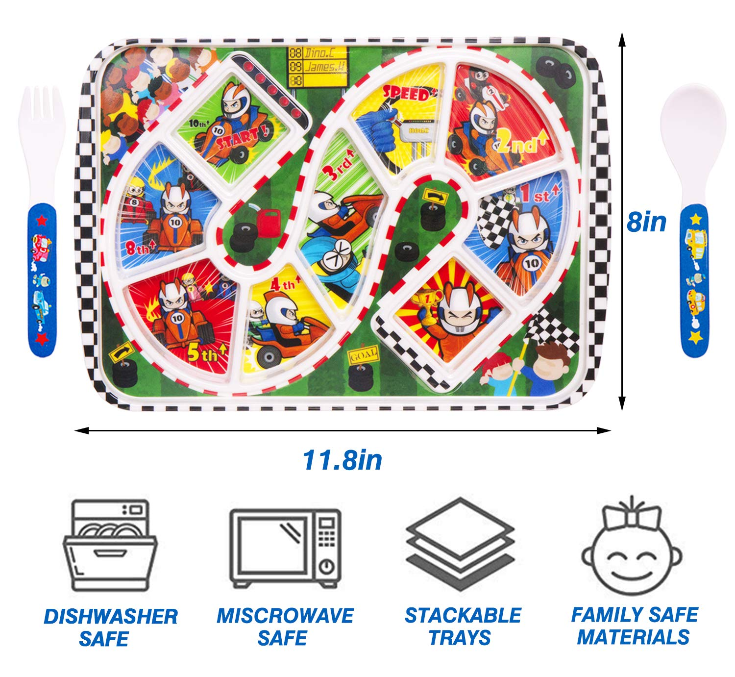 100/% BPA Free FDA Approved Melamine Stackable Dishwasher Safe 3-Piece Melamine Tray Plate Set for Kids and Toddlers Qshare Divided Plate 1-Racing