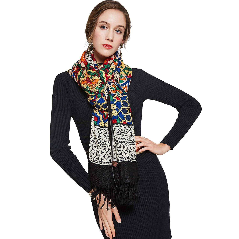 Black DANA XU 100% Pure Wool Women Winter Large Scarf Pashmina …