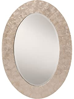 OSP Designs Rio Beveled Wall Mirror With Mother Of Pearl Oval Frame, White