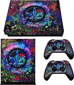 eXtremeRate Full Set Faceplates Skin Stickers for Xbox One X Console Controller with 2 Pcs Home Button Decals - Psychedelic Cannabis