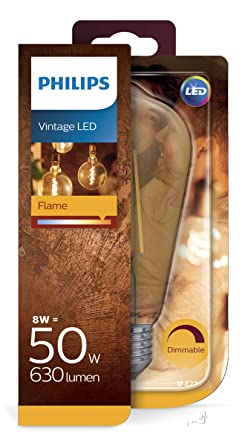 Philips Bombilla LED forma de pera, filamento/vintage, E27, luz blanca cálida