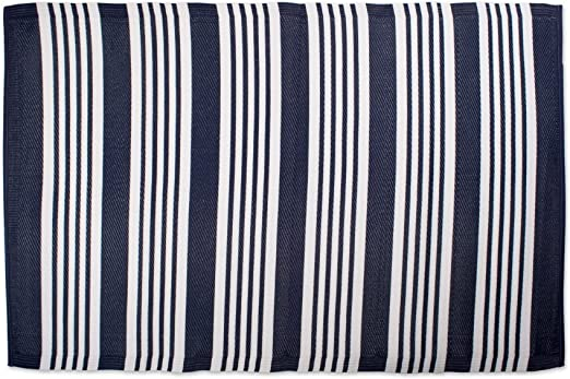 Amazon Com Blue White Rv Outdoor Rug For Camping Large Striped Pattern Floor Mat Reversible Nautical Navy Blue Multi Stripe Lightweight Polypropylene Home Kitchen