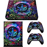 eXtremeRate Full Set Faceplates Skin Stickers for Xbox One X Console Controller with 2 Pcs Home Button Decals - Psychedelic C