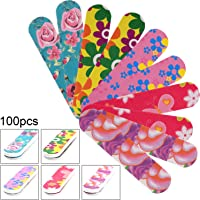 100 Pieces Mini Nail Files Double Sided Emery Boards Nail File and Buffers Nail Tools for Women Girls, 5 Colors