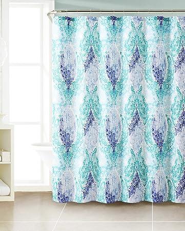 Amazon.com: Dobby Fabric Shower Curtain: Paisley Floral Design ...