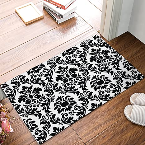 Outdoor Front Door Mats.Black And White Damask Fabric Door Mat Rug Indoor Outdoor Front Door Shower Bathroom Doormat Non Slip Doormats 18 Inch By 30 Inch