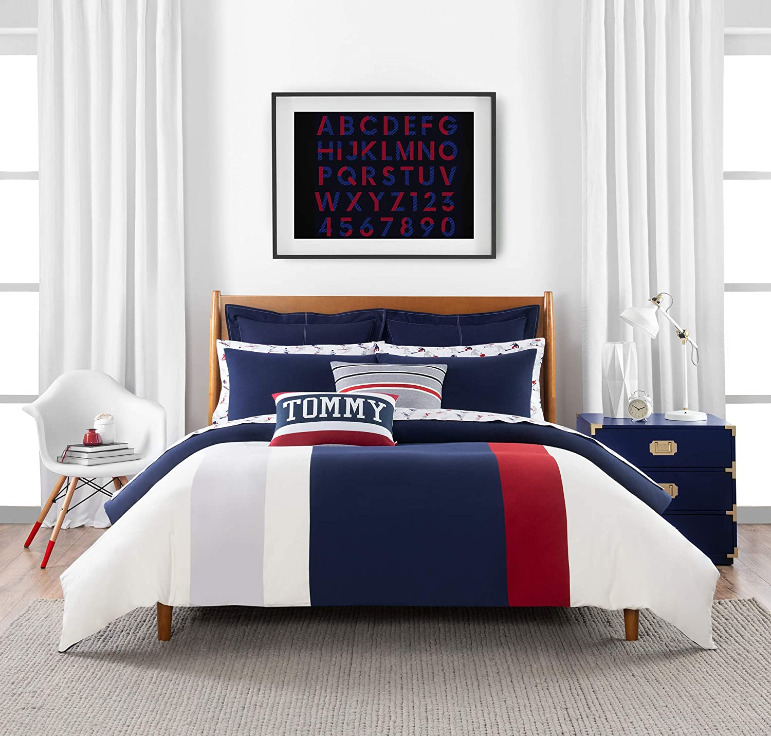 Tommy Hilfiger Clash of '85 Stripe Bedding Collection Comforter Set, Twin, Ivory/Navy/Red