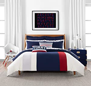Tommy Hilfiger Clash of '85 Stripe Bedding Collection Duvet Cover Set, Full Queen, Ivory/Navy/Red
