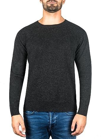 CASH MERE.CH 100% Kaschmir Herren Pullover | Sweater Rundhalsausschnitt 2 fädig