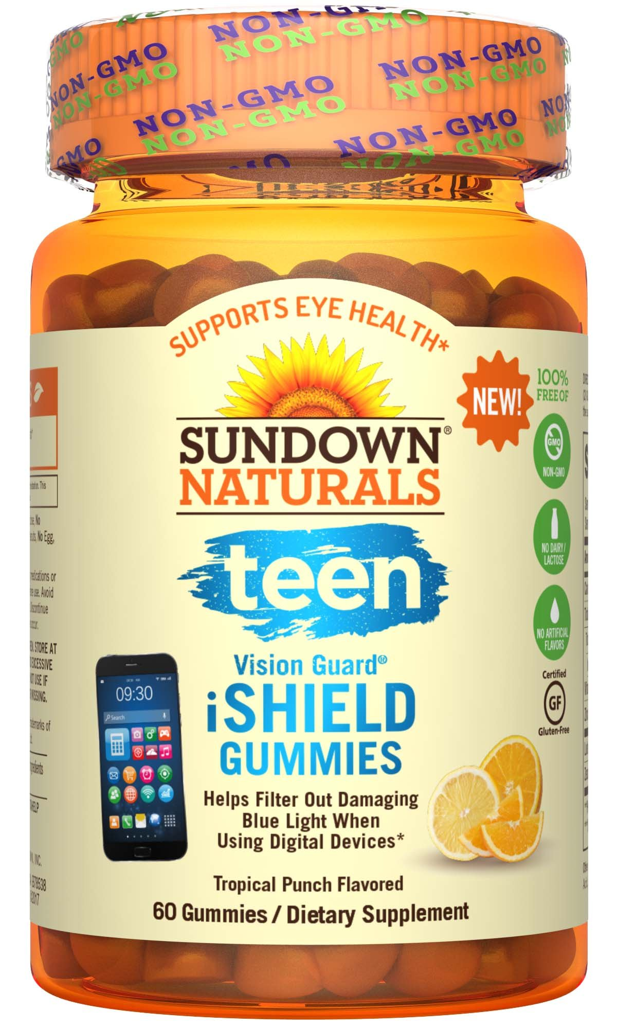 Sundown Naturals Teen Vision Guard I Shield Gummies, 60 Count, Eye Vitamin Gummies, Lutein and Zeaxanthin Supplements with Zinc, Vitamin A, Supports Vision Health, May Help Eyes Filter Out Blue Light