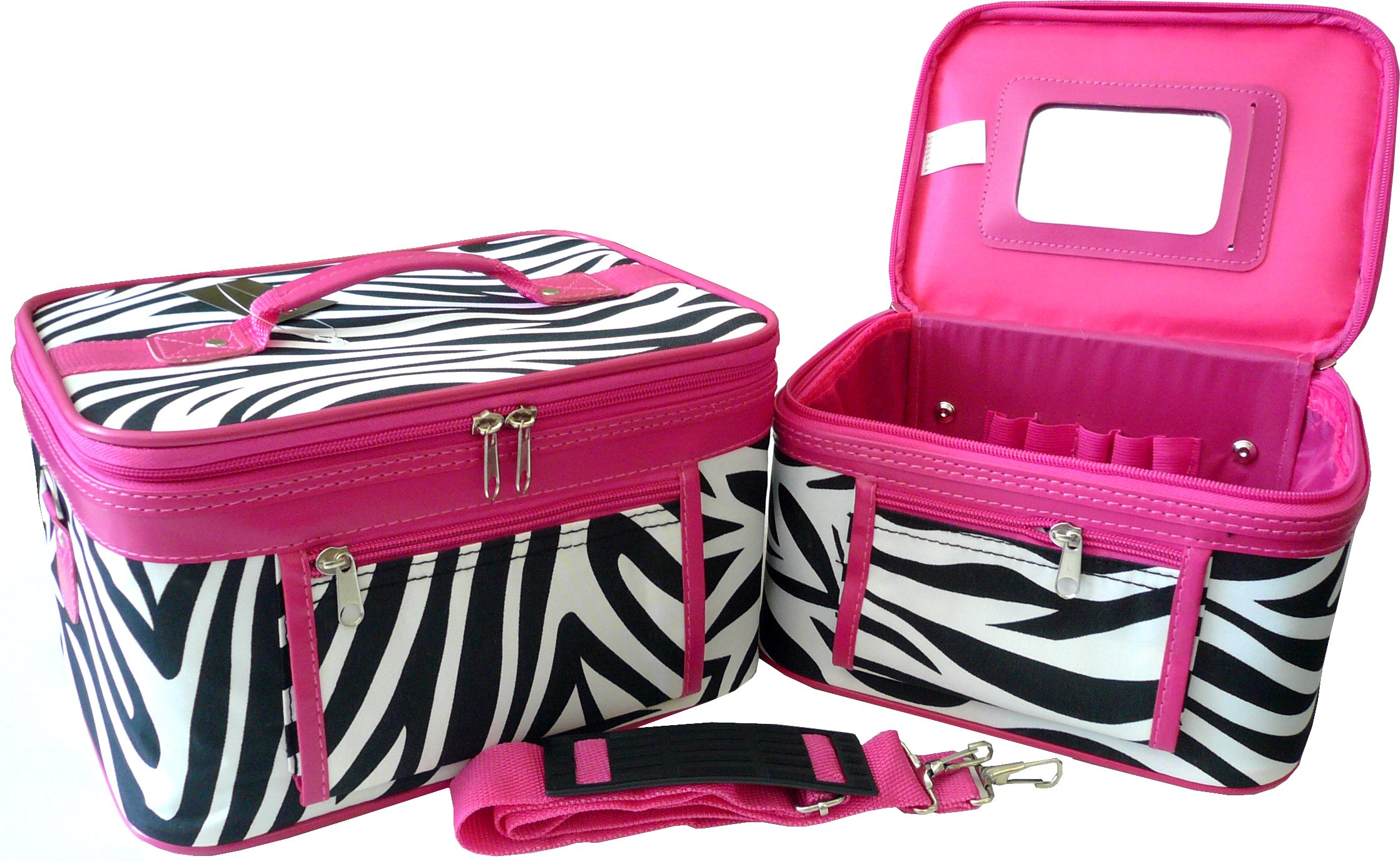 Women's Print Cosmetic Case (2-piece set) (Zebra-Pink)