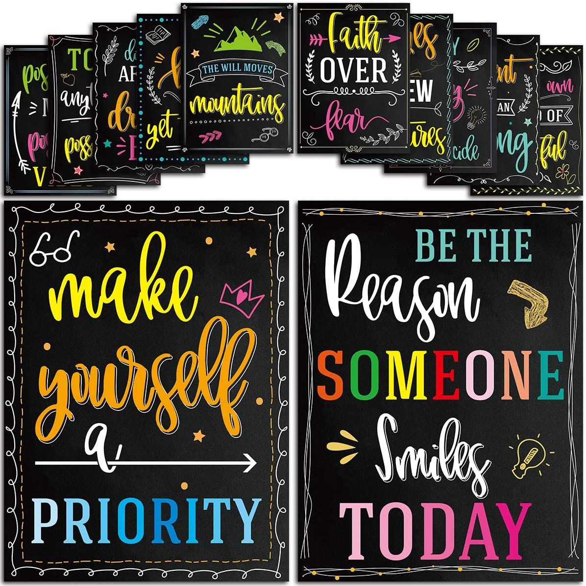 12 Pack Motivational Posters Inspirational Quotes Posters Wall Art for Students Teachers Classroom Office Home Decorations 12 x 16 Inches