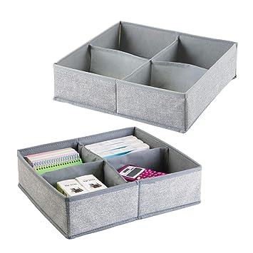 mDesign Juego de 2 separadores de cajones ? 4 compartimentos cada uno - Cajas organizadoras de