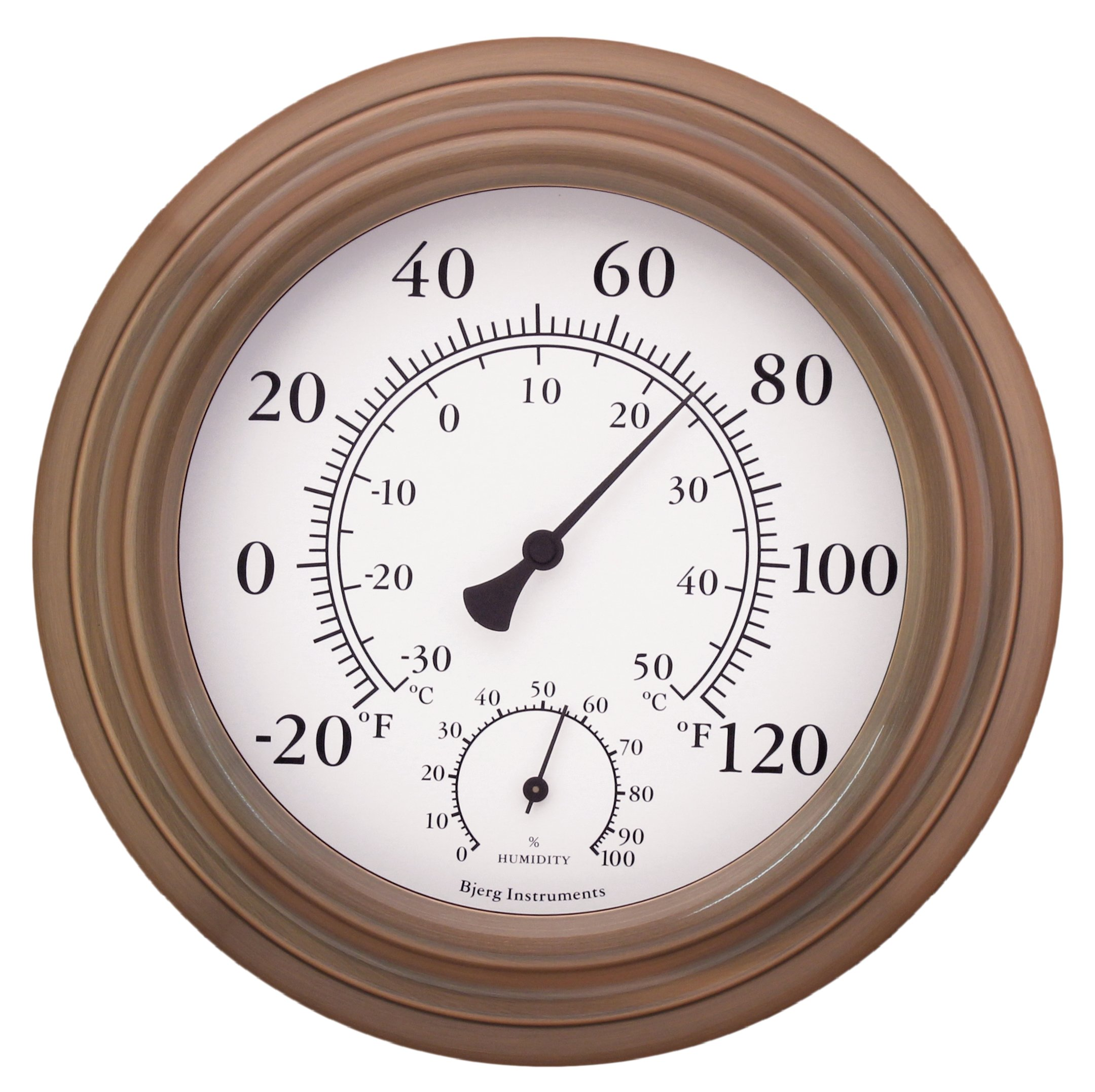 8'' Antique Copper Finish Decorative Indoor / Outdoor Thermometer and Hygrometer