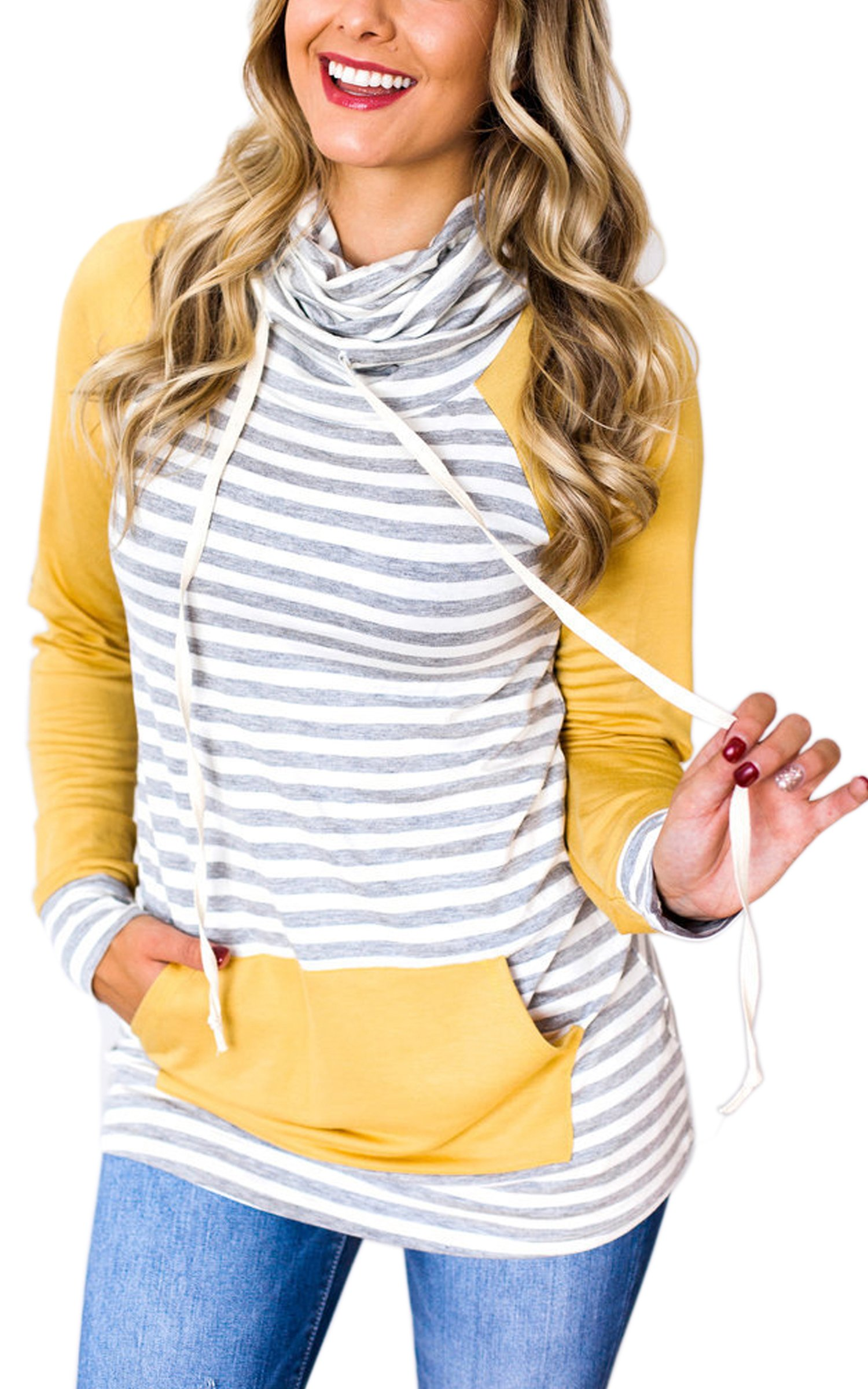 ECOWISH Womens Cowl Neck Stitching Striped Pullover Hoodies Drawstring Long Sleeve Pocket Casual Sweatshirts Yellow M