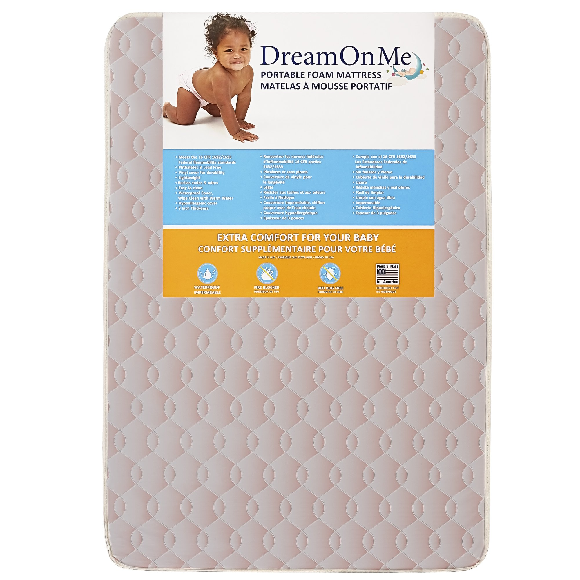 Dream On Me Foam Carina Collection Pack N Play Mattress, Wave Pink, 3''