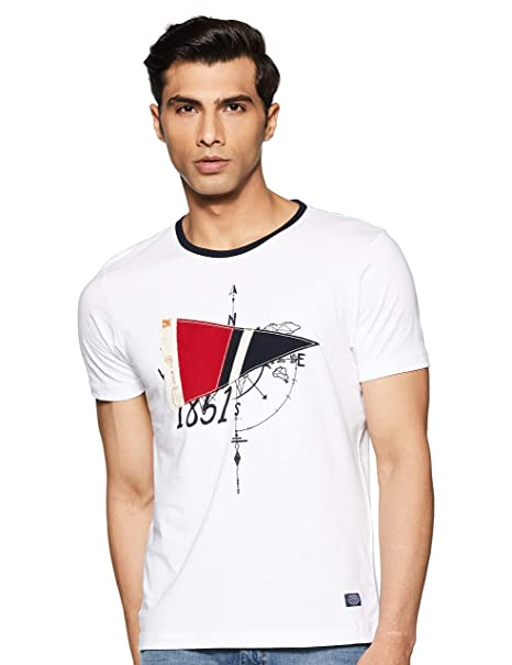 5ee4bab87257cb Arrow Sports Men s Solid Regular fit T-Shirt (ASXTS3346 White Small ...