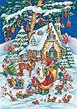 Santa and Elves Christmas Card & Advent Calendar