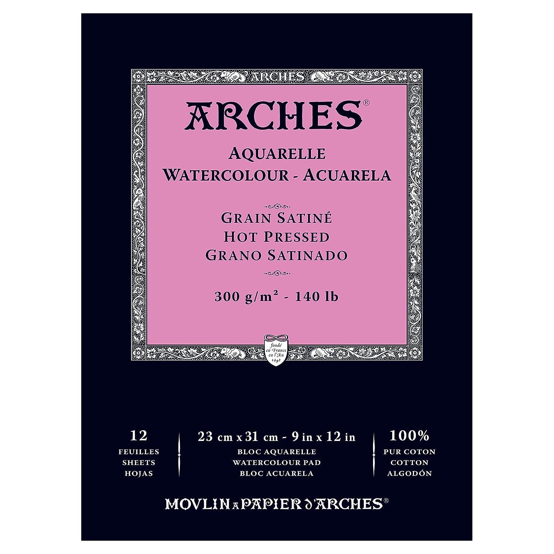 Arches Blocco per Acquerello incollato 1 Lato (12 Fogli) - Grana Satinata - 300 g/mq - A4 Colart 1795096