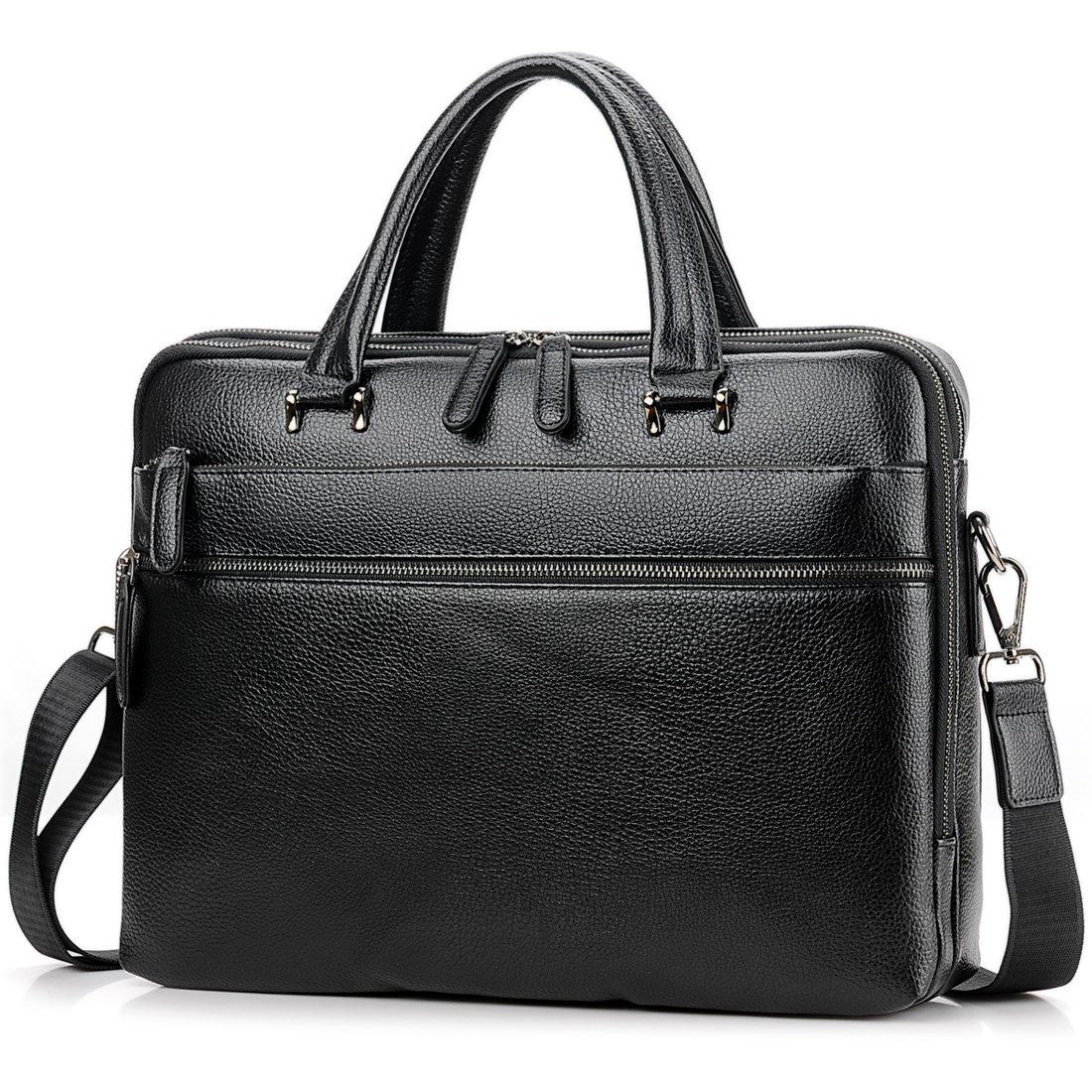 Men Leather Briefcase Vintage Handbag Mens Briefcases for men Laptop Messenger Mens Business Bag 8906 (Black)