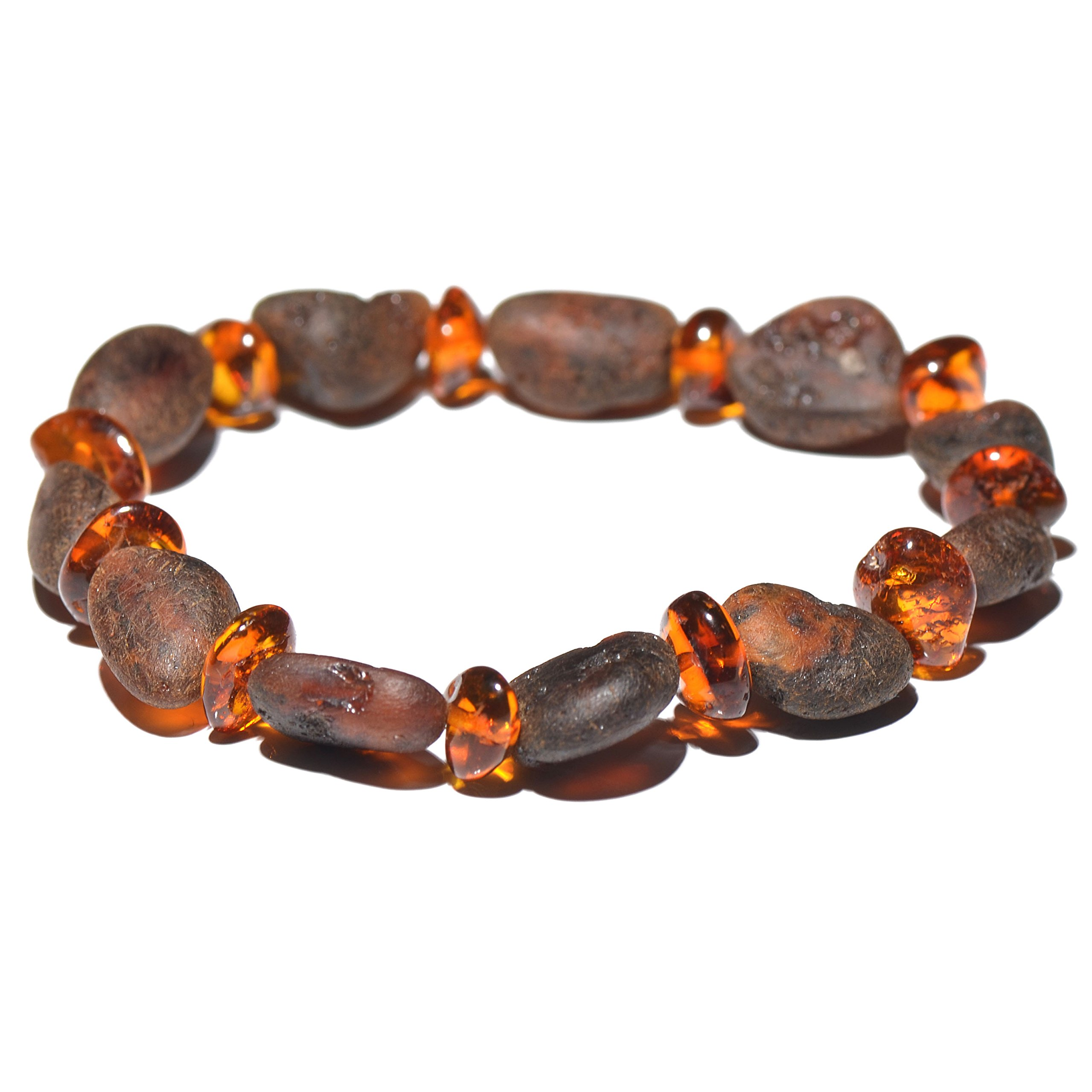Genuine Raw Baltic Amber Bracelet for Adult - Choose your colors and choose your size! - 3 sizes and 10 different colors - 100% Authentic Baltic Amber (7 inches, Cognac mix)
