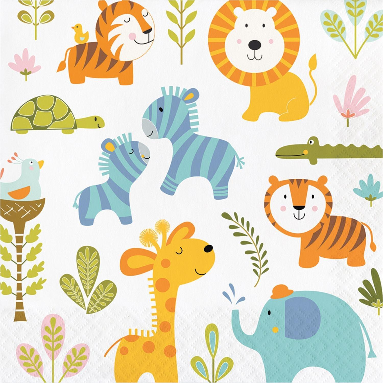 Club Pack of 192 Subtly Colored happiジャングルテーマ使い捨てLuncheonパーティーナプキン6.5
