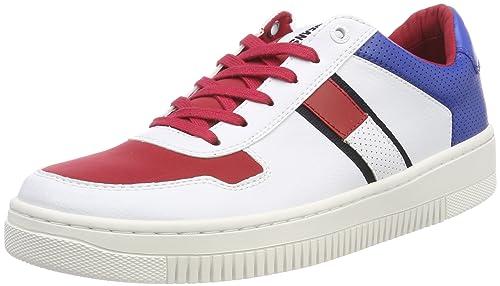Hilfiger Denim Tommy Jeans Basket Sneaker, Scarpe da Ginnastica Basse Uomo, Bianco (RWB 020), 45 EU