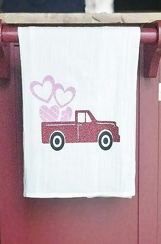 Decorative Tea Towel Valentine/'s Day Pickup Truck Kitchen Towel
