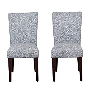 HomePop Parsons Classic Upholstered Accent Dining Chair, Set of 2, Navy and Floral