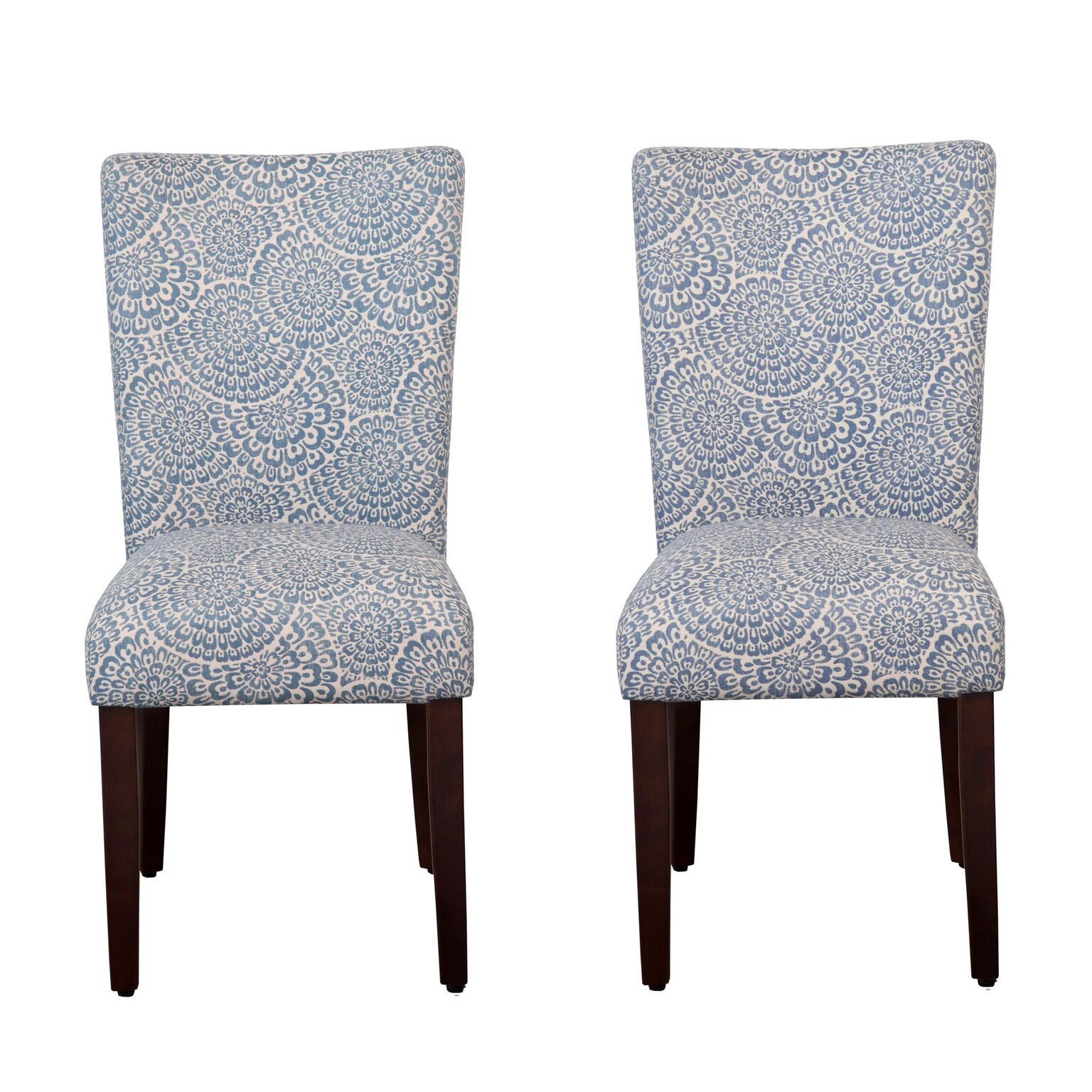 Kinfine K6805-F2059 Parsons Classic Dining Chair Room Tables, Set of 2, Navy and Floral