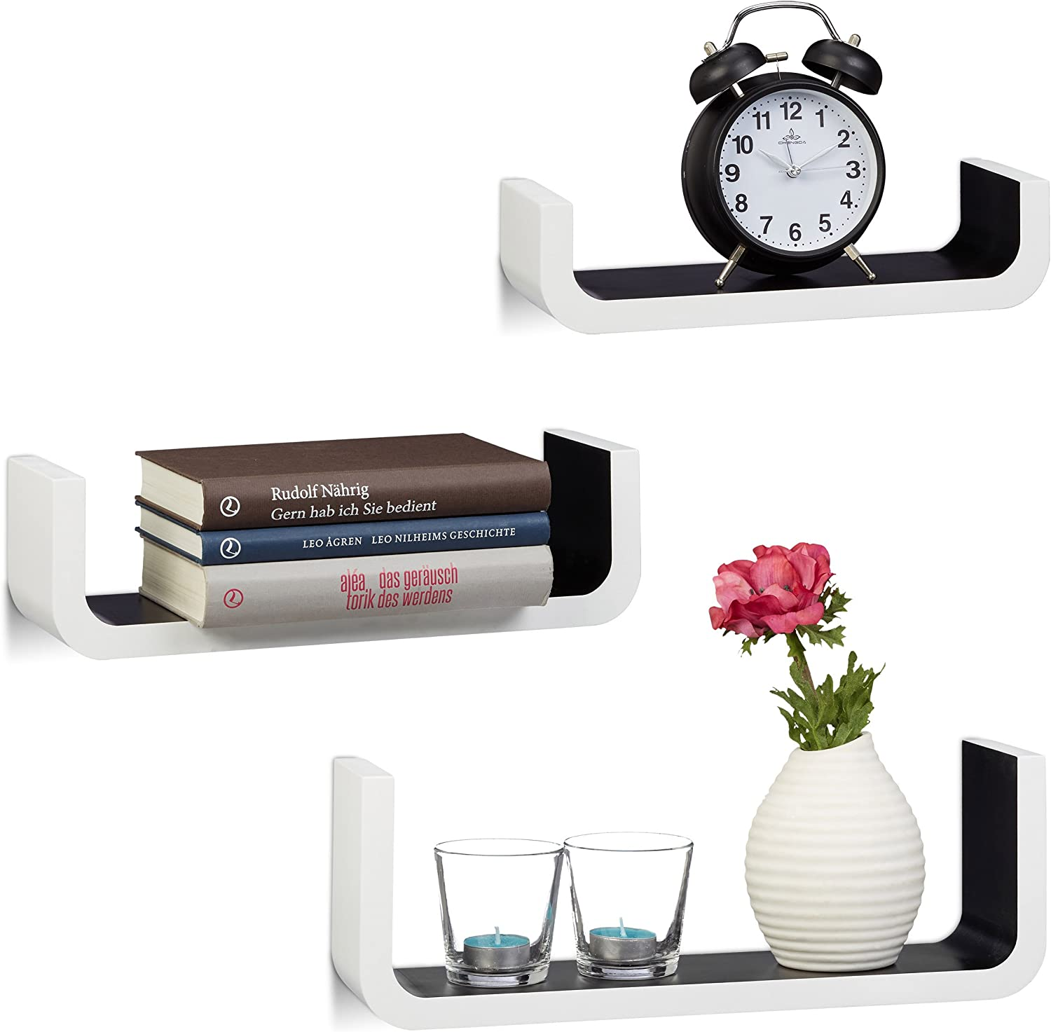 Small Wooden Floating Shelves 10 cm Depth 40 cm Width White Relaxdays U-Shaped Wall Shelves Set of 3
