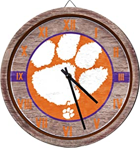 FOCO Barrel Wall Clock – Limited Edition Wooden Clock – Represent Your NCAA College and Show Your Team Spirit with Officially Licensed Fan Decor