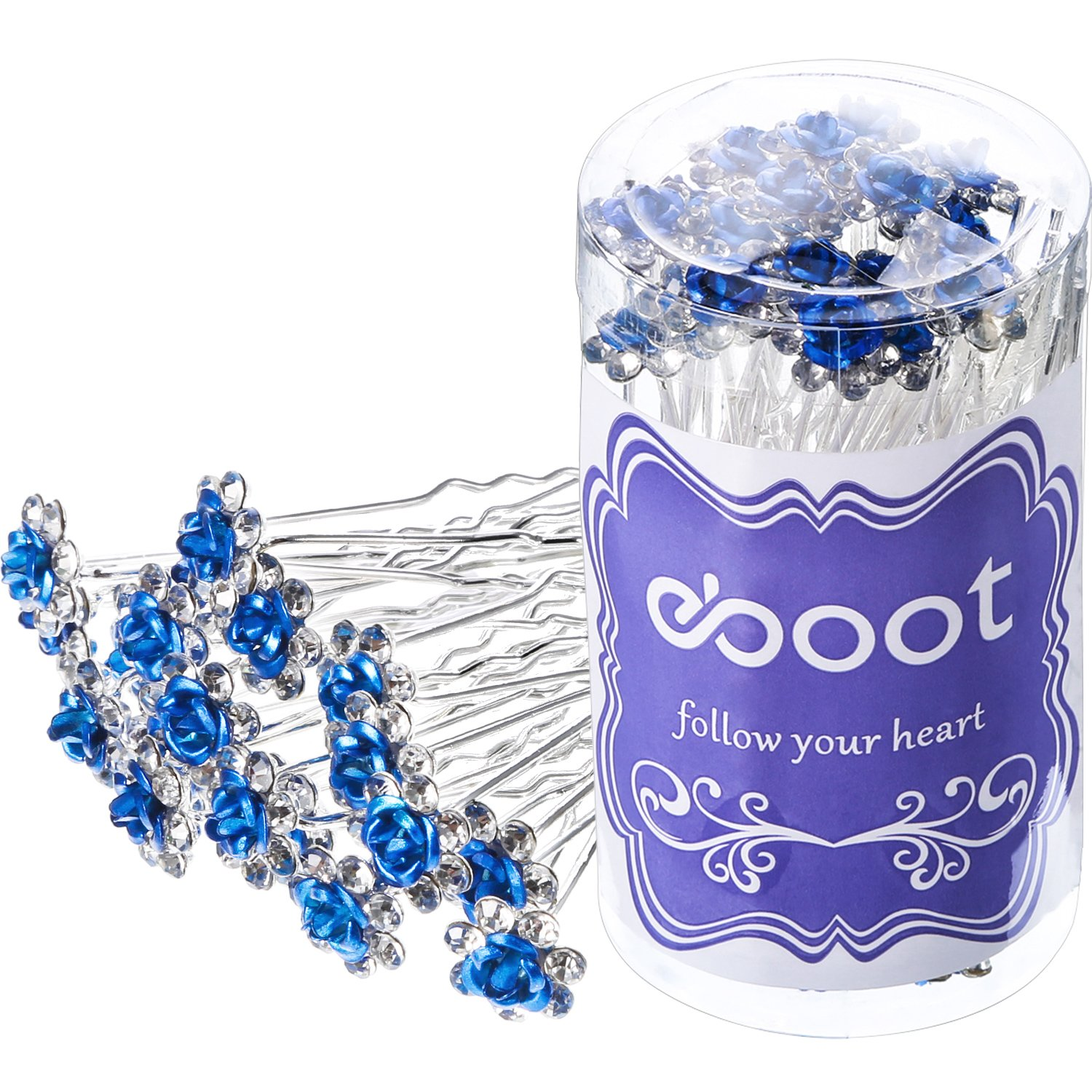 eBoot 40 Pack Crystal Hair Pins Rose Flower Rhinestone Hair Clips for Bridal Wedding Women Hair Jewelry Accessories, with Storage Bag (Blue)