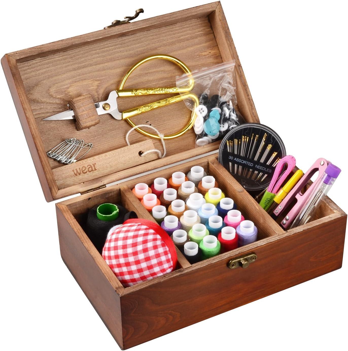 ISOTO - Cesta de coser de madera con kit de costura, accesorios vintage caja de organización para Mon Grandma Niña Mujeres Hobbyista Hogar