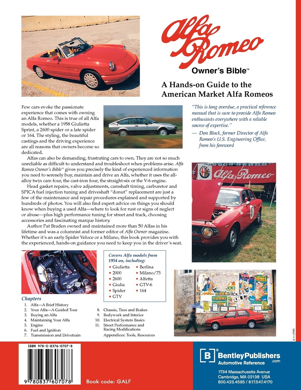 Alfa Romeo Owners Bible Pat Braden Don Black 9780837607078 Giulia Super Wiring Diagram Books