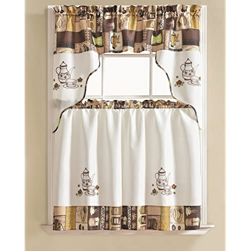 3pc Beige Coffee With Embroidered Gold Floral Kitchen Cafe: Kitchen Coffee Curtains: Amazon.com