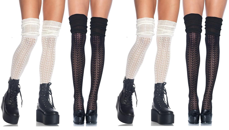 Leg Avenue Women's Pointelle Over The Knee Scrunch Socks 6906