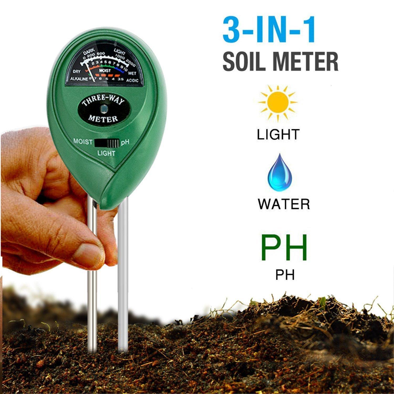 dinowin Boden Hygrometer Feuchtigkeit Meter/Boden PH Sä ure/Lichtintensitä t-in Digital Soil Tester fü r Innen oder Auß enbereich Pflanzen Blumen Gras und Rasen