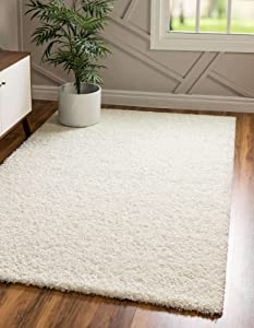 Unique Loom Solo Solid Shag Collection Modern Plush Snow White/Cream Area Rug (7' 0 x 10' 0)