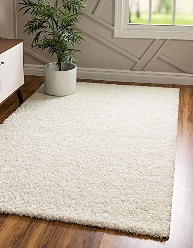 Unique Loom Solo Solid Shag Collection Modern Plush Snow White/Cream Area Rug 5' 0 x 8' 0