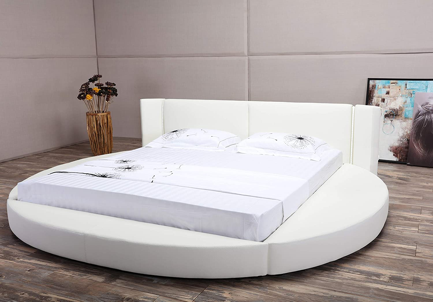 Oslo X Round Bed Queen Size White Amazonca Home Kitchen