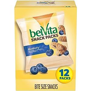 belVita Bites Mini Breakfast Biscuits, Blueberry Flavor, 12 Snack Pack, 1 oz