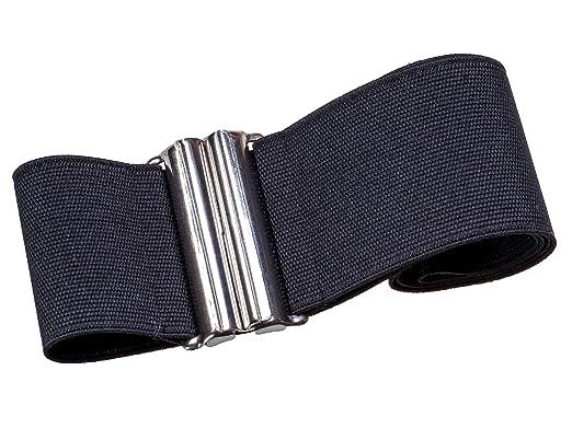 9d78829e6f60c4 Stretchgürtel schwarz 6 cm elastischer Taillengürtel Stoffgürtel mit  solider silberfarbener Schnalle XS