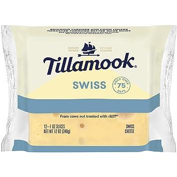 Tillamook Swiss Cheese Slices, 12 oz (Packaging May Vary ...