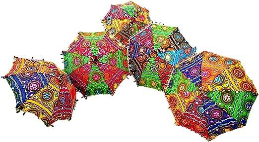 GANESHAM HANDICRAFTS- Espejo decorativo hecho a mano de algodón decorativo, bordado, protección UV, sombrilla, bohemio, sombrilla, sombrilla de boda, sombrilla, sombrilla, sombrilla de playa, 5 piezas: Amazon.es: Hogar