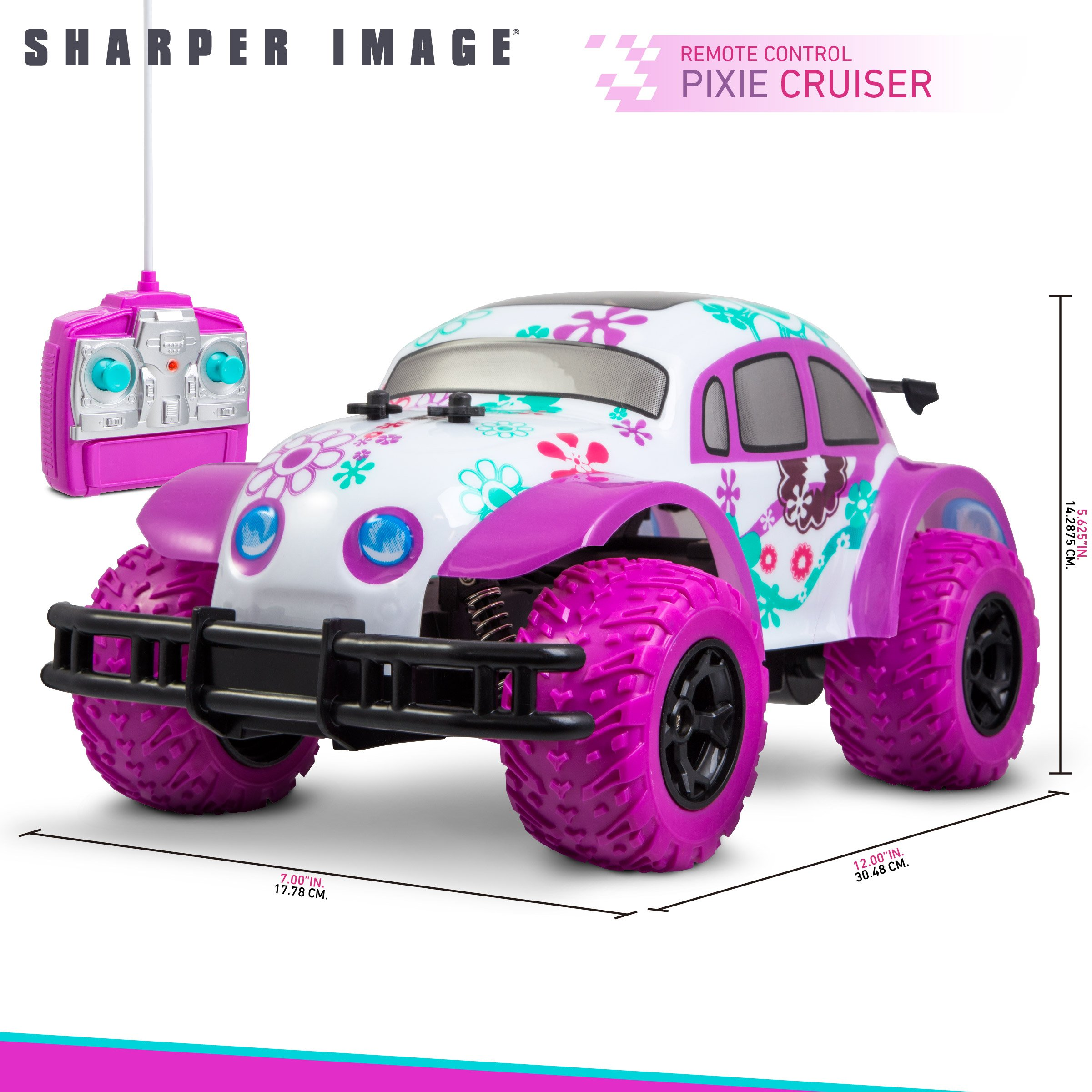 SHARPER IMAGE Pixie Cruiser Pink and Purple RC Remote Control Car Toy for Girls with Off-Road Grip Tires; Princess Style Big Buggy Crawler w/ Flowers Design and Shocks, Race Up to 5 MPH, Ages 6 Year + by Sharper Image (Image #5)